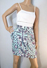 BLESS'ED ARE THE MEEK size 10 100% silk print SKIRT with draped pockets near new