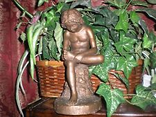 young sitting male nude bronze tone sculpture stature by austin production 1963
