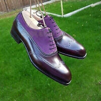 Handmade Men's Leather Purple brown Brogue Shoes, Oxford Formal Dress Shoes-230