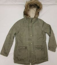 New listing Girls George Coat 11-12yrs Green Parka Winter Hooded Fur Trim