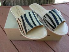 NEW Soft Surroundings Zebra Animal Print Slides Sandals Size 8 Coconuts Leather
