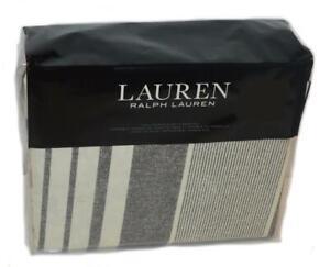 RALPH LAUREN Devon Cream Charcoal Stripe 3P Full/ Queen Duvet Set NEW $230