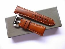 26/22mm Cognac Brown leather band - 26mm Strap Panerai style