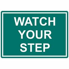 ComplianceSigns Engraved Plastic Watch Your Step Sign, 10 x 7 Green