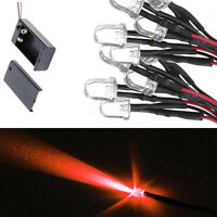 10 8mm LED RED 55cm Pre Wired Emitting Diode Lights 9 to 12V And Battery Clip