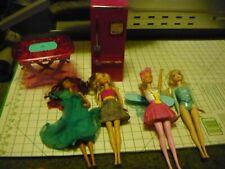 4 Barbie Dolls w/ Table & Refrigerator used loose