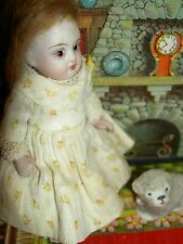 """Charming 4"""" German wire-jointed, antique all bisque dollhouse doll w/glass eyes"""