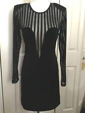 BNWT Motel Bentalls Black Stripped Bodycon Mesh Sleeve Dress Size M RRP£50