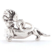 DACHSHUND Charm Doxie Dog Puppy Pendant Head Moves Weiner 925 Sterling Silver