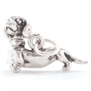 DACHSHUND Charm Doxie Dog Puppy Pendant Head Moves Weiner 925 Sterling Silver 3D