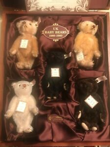 Steiff British Collectors UK Baby Bears Set 1989-1993 -- Button in Ear