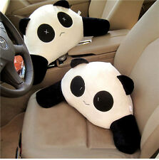 2Pcs Cute Panda Car Waist Pillow Seat Back Cushion Lumbar Rest Support Travel