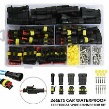 26 Sets Waterproof Car Electrical Wire Connector Plug 1-4 Pin Way Plug Kit BE