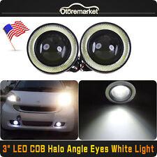 "3.0"" LED COB Projector Fog Driving Lamp Angel Eye Halo Ring DRL Daytime Light US"