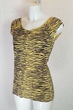 DOROTHY PERKINS yellow black print Stretch cotton Long fitted top blouse size 10