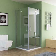 Duschkabine Eckeinstieg Dusche Falttür Duschwand Duschabtrennung NANO Glas 195cm
