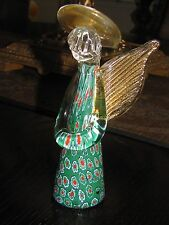 "MURANO MILLEFIORI ARTGLASS CHRISTMAS ANGEL: Red, Green ,Gold Halo/Wings ,6"", Tag"
