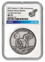 2019 Apollo 11 50th Robbins Medal 1 oz Silver-pltd Antiqued NGC MS70 SKU55124
