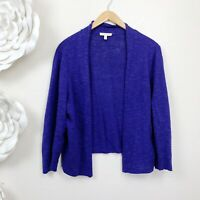 EILEEN FISHER Open Front Organic Cardigan Sweater Size L Large Crop Length