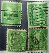 Three 1 cent Franklin & a 1 cent Washington U.S. Stamps Print See Errors #35T