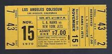 1970 NFL NEW YORK JETS @ LOS ANGELES RAMS FULL UNUSED FOOTBALL TICKET - NAMATH