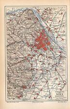 Wien u. Umgebung Österreich Floridsdorf Klein-Schwechat Weidling Landkarte 1897