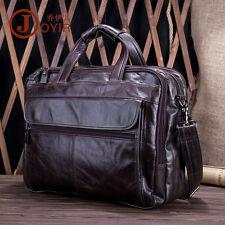 Genuine Leather Men 15'' Laptop Lawyer Briefcase Work Office Document Handbag