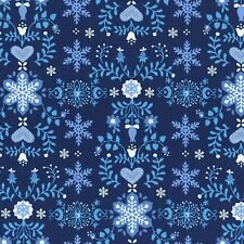 Fabric Christmas Time Snowflakes on Navy Cotton by the 1/4 yard