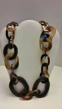 Gorgeous 100% black leather and Buffalo horn chunky link necklace