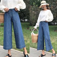 Women Wide Leg Jeans Denim Trousers Loose High Waist Pant Vintage Blue Plus Size
