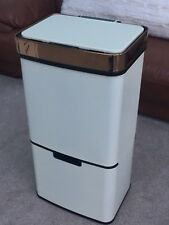 Morphy Richards cream and rose gold recycling touch sensor bin