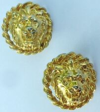boucles d'oreilles clips bijou couleur or tête de lion relief * 5256
