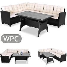 Deuba® Poly Rattan Ecklounge WPC Tisch Gartenmöbel Sitzgruppe Lounge Set  Schwarz