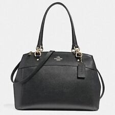 New Coach F25926 Leather Brooke Large Satchel Handbag Shoulder Purse in Black