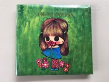 Vintage American Greetings Photo Album Big Eye Girl Green Cover Plastic Sleeves