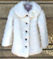 Gorgeous White Plush Faux Fur Origami Girls Coat Jacket Size 6