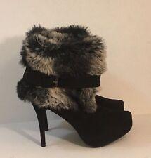 Womens F24 Black Stiletto Heel Hidden Platform Ankle Boots Faux Fur Cuff Size 10