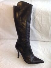 Pepe Castell Black Knee High Leather Boots Size 37