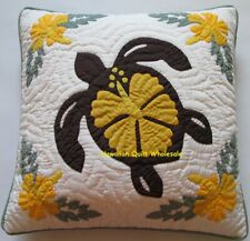 2 Hawaiian quilt 100% hand quilted/appliquéd cushions pillow covers BROWN