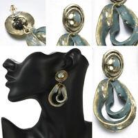 Women Vintage Retro Green Alloy Pendant Geometric Dangle Drop Earrings Jewelry
