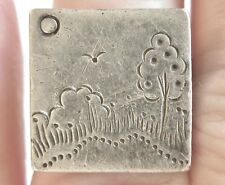 VINTAGE MODERNIST STERLING SILVER RING BY HEINS SQUARE FACE W PICTURESQUE SCENE