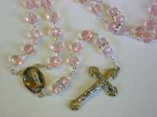 Lourdes Catholic Rosary Beads with Swarovski Elements and Pink Crystal Beads