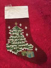 Pottery Barn Christmas Tree Crewel Embroidered Stocking Monogram Removed *read*