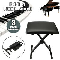 X Frame Adjustable Piano Keyboard Bench Leather Padded Seat Folding Stool Chair
