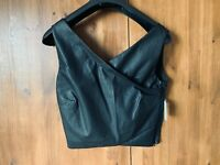 ZARA CROP TOP Black Faux Leather Cropped Cami Vest M / UK 12 / 40 - NEW