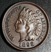 1898 INDIAN HEAD CENT - XF/AU -With REPUNCHED DATE *SNOW-1* 3 STAR VARIETY! RARE