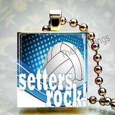 Volleyball Setters Rock Custom Scrabble Tile Necklace Pendant Jewelry Sports B