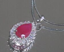 Sparkling 2.5ct Created Ruby & Diamond Drop Pendant + Necklace