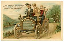 ANGE. ANGEL. COUPLE. AUTOMOBILE ANCIENNE.OLD CAR.DORURE.GILDING.GAUFRé. EMBOSSED