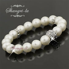 18K White GOLD GP Pearl WEDDING Bridal BRACELET Made With SWAROVSKI CRYSTAL 9002